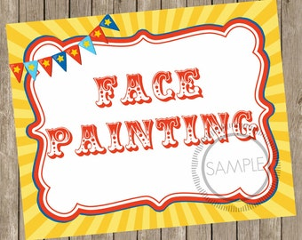 8x10 Face Painting Carnival / Circus Printable / Sign *INSTANT DOWNLOAD*