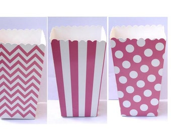 "SALE, 12 Pink Popcorn Boxes- Treat Boxes - Party, Birthday and more ""Same Day Shipping"""