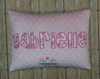 Pillow Cover Custom Appliqued Name - 12x16 Pillow Cover - Minky Pillow - Sweet Flowered Applique - Pink Minky Pillow