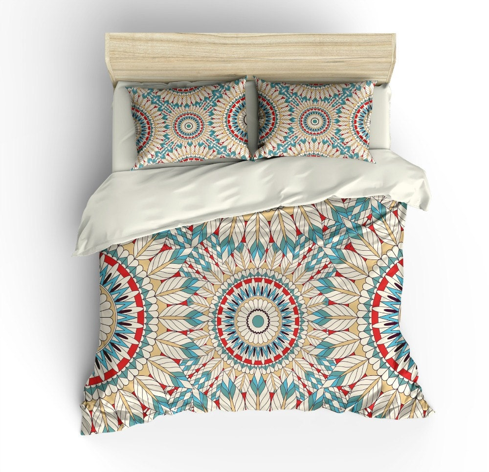 Boho Chic Bedding Duvet Cover Set Feather Mandala by