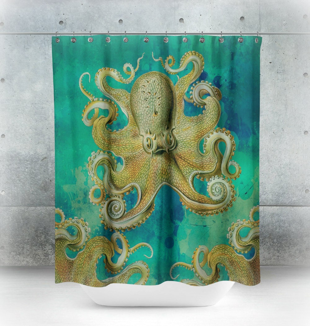 Octopus Shower Curtain Teal Tentacles Octopus By FolkandFunky