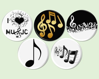 Music Pinback Button, Musical Notes, Band Camp Fundrasier, I Love Music Badges, Band Orchestra, Music Party Theme, Wedding Music - BB2142