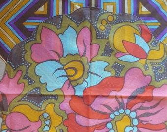 2 Mod Handkerchief - 1970's Cotton Hankies Floral and Geometric Designs