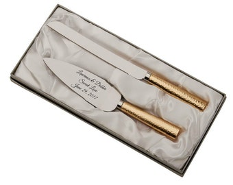 Personalized For Free Wedding Cake Server And Knife Set With Gold Hammered  Style Handles In Gold