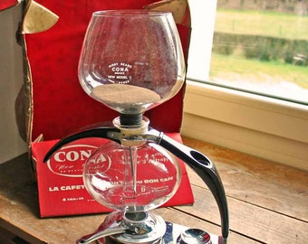 Vintage 1970's Cona vacuum brewer designed by Abram Games,1970's Cona vacuum coffee syphon with box
