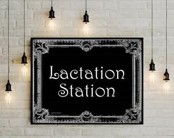 Breastfeeding sign, Printable nursing sign, Pumping Station, Digital Lactation station, Black White baby shower gift, 8x10 11x14 jpg pdf png