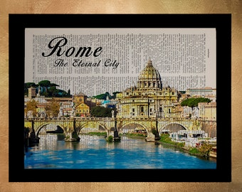 Vintage Rome Italy travel poster printed on upcycled dictionary, Italy Rome Wall Art Home Decor da1034