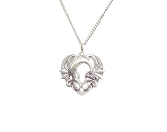Dolphin necklace, Dolphin and heart necklace, birthday gift, silver necklace, necklace,  heart necklace,  womens necklace, pewter jewelry