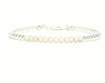 Sterling silver bracelet, 3mm sterling silver bead bracelet, silver bead bracelet, small sterling silver beaded bracelet, bracelets