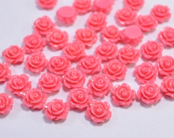 Resin Flower Cabochon Delicate Rose ,20pcs Coral Rose Cabochons - 10mm.