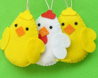 Easter Eggs set, Spring Decor, Felt easter decoration, Easter chickens Set, Felt Birds Ornaments, Baby chicken, Chicken Ornament