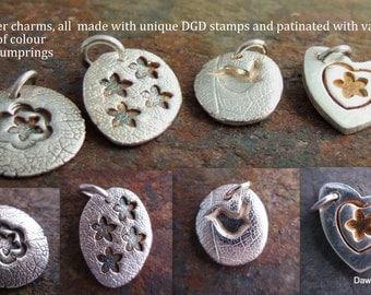 Flower / bird / wren / heart charm / delicate pendant, made from fine (999) silver, unique to Dawn Gill Designs