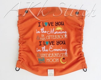 "Rockets Tula Hood Personalized ""I love you in the Morning, & in the Afternoon...""- Rockets Tula Hood- Rockets Tula Accessories- Tula Hood"