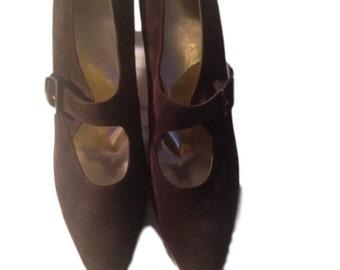 Ferragamo Brown Suede Maryjane Heels - Size 9.5AA