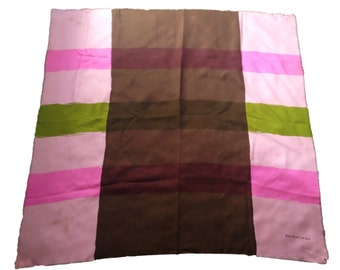 "Balenciaga Striped Modern Vintage Silk Multi-Color Scarf - 32.5"" - Made in France"