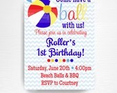Royal Blue Red Yellow Beach Ball Birthday Party Printable Invitation YOU Print