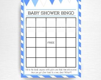 Blue Boy Baby Shower Bingo Card Instant Download Blue White Baby Shower Game
