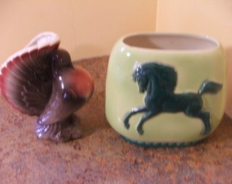 Pair of Vintage 1950s Royal Copley Planters - Pigeon and Horse