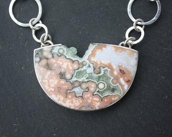 Ocean Jasper, Fine Silver, Designer, Pendant