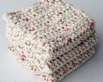 Crochet Dishcloths/ Washcloths - Speckled Cream - 100% Cotton -  Handmade Wash Rags - Set of 3 Kitchen Dishcloths - Facial Washcloths