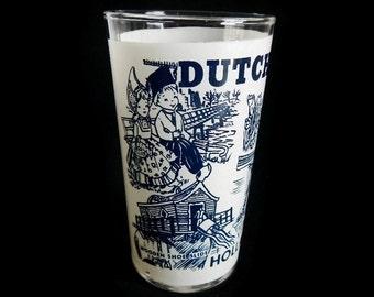 Vintage Dutch Village Souvenir Glass - navy blue, New Holland, Michigan, glassware,drinking, collectible,vacation, travel,tourist attraction