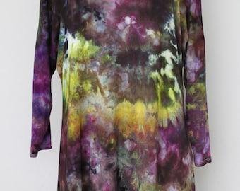 Tie dye Women's 3/4 sleeve tunic blouse Ice Dyed - Size Large - Turkish Hierloom
