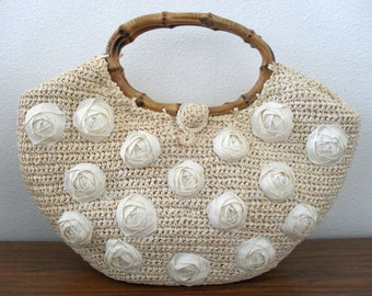 """Ritter """"It's in the Bag"""" Woven Straw Raffia Handbag With Bamboo Handles Made in Japan"""