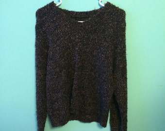 Vintage v neck slouchy pullover fuzzy sweater