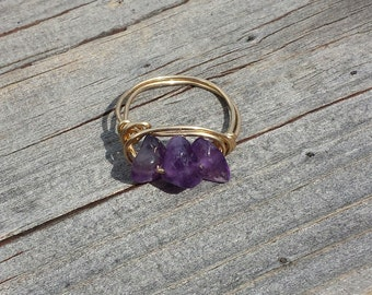 Boho Amethyst Wire Wrapped Ring