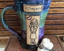 I Love My Nerd - Girl Nerd Mug - 10.25 Ounces - Aurora Borealis - Wheelthrown Pottery