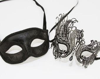 Classic Black Couples Mask Set,  Venetian Masquerade Mask, Phantom of the Opera Inspired, Mardi Gras, Wedding, Prom. PM003BK+BF001BK