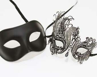 Classic Black Couples Mask Set, Venetian Masquerade Mask, Phantom of the Opera Inspired, Mardi Gras, Wedding, Prom. PM004BK+BF001BK