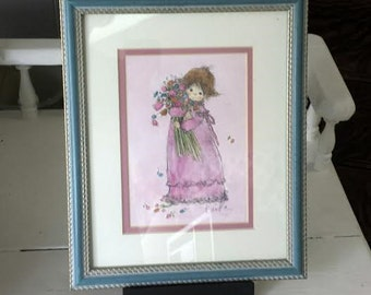 Vintage Girl Print Retro Framed 8 X 10 Print Blue Pink Wall Decor Whimsical Decor Nursery