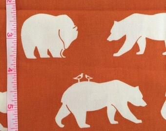 Bear Hike Orange by Jay-Cyn for Birch Fabrics Organic Cotton