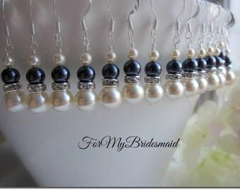 Bridesmaid Pearl Earrings, Pearl and Rhinestone Earrings, Bridesmaid Pearl Earrings, Ivory navy blue pearl earrings , Bridesmaid gifts