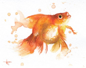 "Golden Fish III - ORIGINAL Watercolor - 4.5x5.5"" - Fish, UNFRAMED, Painting by Bruno M Carlos"