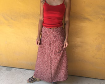90s red floral maxi skirt xs