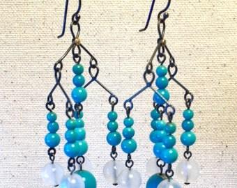 Turquoise and moonstone chandelier earrings