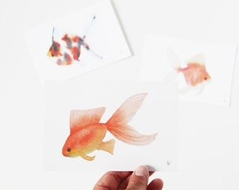 Goldfish Watercolor Painting Art Print Set of Three 4x6 or 5x7
