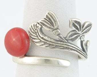 Handmade Darkened 925 Sterling Silver Adjustable Ring with Natural Red Sea Coral 8mm diameter