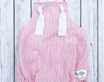 Pink Seersucker Romper , Seersucker Romper , Seersucker Outfit , Pink Stripe Romper , Stripe Baby Romper , Seersucker Summer Outfit