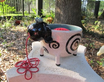 White Sheep Yarn Bowl with Black Face