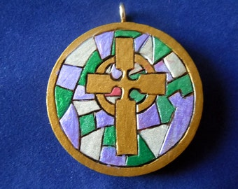"""Cross pendant, """"Stained Glass"""""""