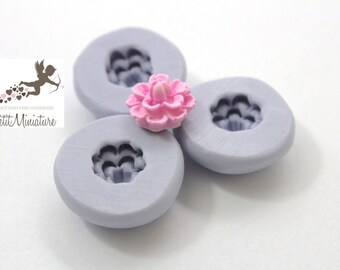 MOULD FLOWER 1,2 flexible silicone mold-3d fimo flower pink dollhouse miniatures charm kawaii polymer clay jewelry soap plaster resin ST273
