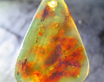 Drilled Dominican Clear With Clouds Yellow Fire Red Amber Pendant Main Stone 33x22x5mm