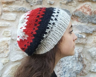 Icelandic Wool Fair Isle Hat - 100%Icelandic Wool, Handmade, Canadian Made, Manitoba Made WINNIPEGTEAM