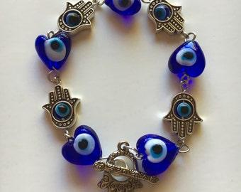 Evil Eye Bead and Chamsa Bracelet