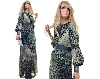 island escape leopard print dress vintage 90s dress avant garde dress bishop sleeve dress animal print maxi dress green dress sheer womens s