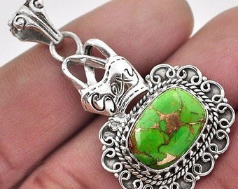 Pendant . 925 silver sterling Green turquoise copper