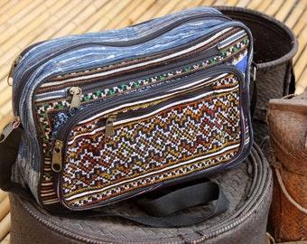 Black Hmong Embroidered ipad Laptop Bag Hand Drawn Batik Hill Tribe